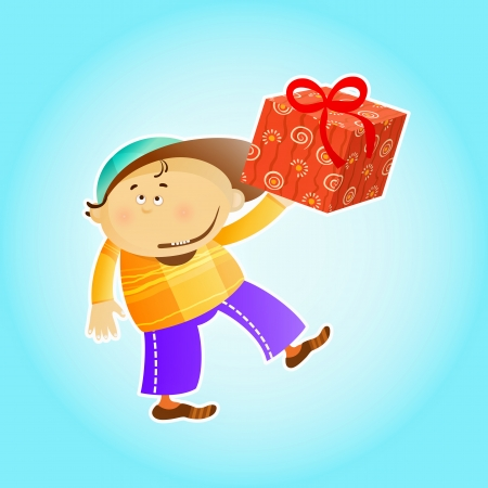 winter clothing: happy Kid got a Gift Illustration