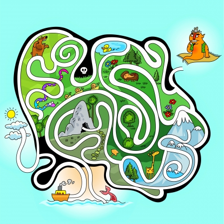 maze game for little kids - Help the giant go to mermaid Vector