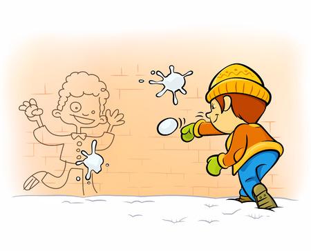 sneeuwballengevecht - een jongen schieten sneeuwbal naar denkbeeldige vijand