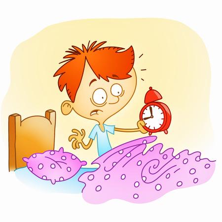 wakker jongen is geschokt omdat het te laat is Stock Illustratie