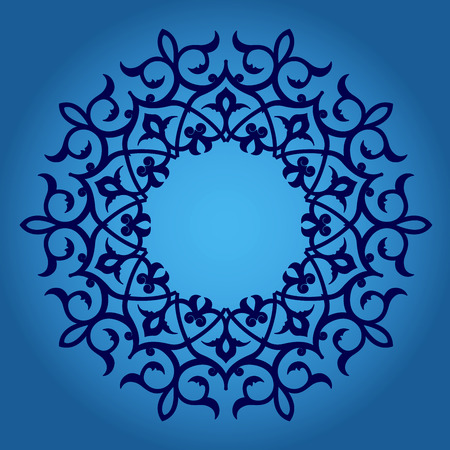 Abstract circle floral ornamental border  Vector