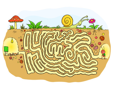 Maze game - ant student going to school Vector