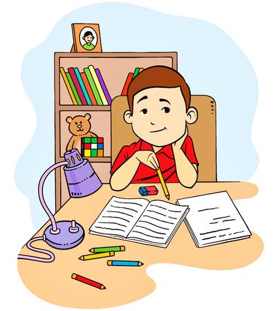 Una illustrazione vettoriale di un bambino a studiare e fare i compiti nella sua camera da letto
