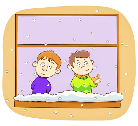 two kids watching snow fall
