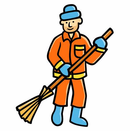 Limpiador de calle Ilustración de vector