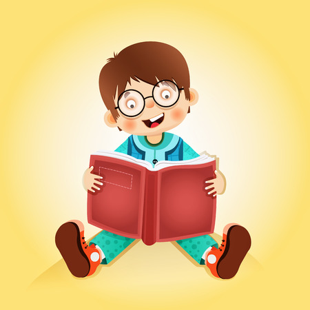 boy reading studying book Vector