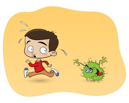 jongen scapes van een virus Stock Illustratie