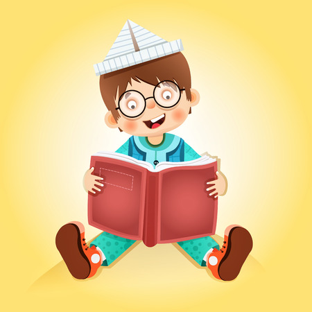 kid reading book  little boy reading an amazing book Vector