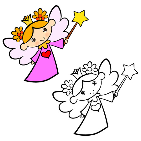 Cute fairy angel coloring book for kids Vector