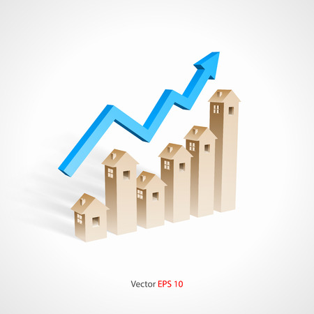 mortgage rates: real estate investment concept Illustration