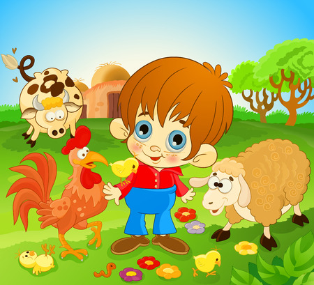 little boy between farm animals. happy kid standing with farm animals. Illustration