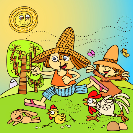 happy kids playing in the farm. little boy and little girl playing with farm animals. Vector