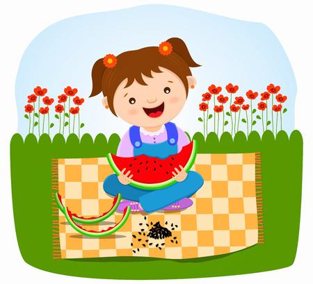 행복한 아기 소녀 먹는 수박