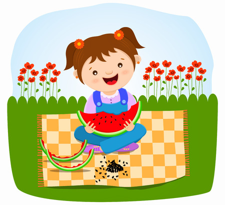 happy baby girl eating watermelon Illustration
