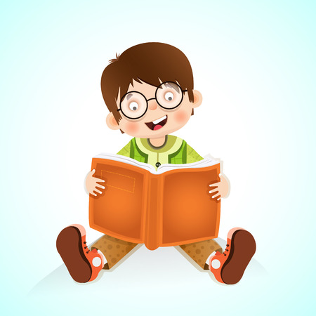 Happy kid reading book, little boy reading a book Vector