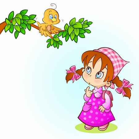 cute little girl smiling: Adorable little girl watching a bird on branch