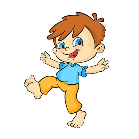 gambol: cartoon happy boy. cheerful boy jumping isolated on white.