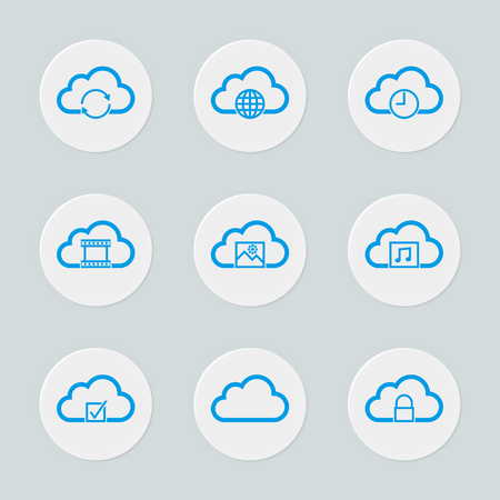 Circular cloud computing icons set: Download and upload,sync, cloud storage, sharing, security and ... Pixels aligned for sharpest view on websites and interfaces design. Vector