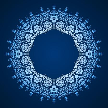 henna pattern: vector abstract circular pattern - frame design