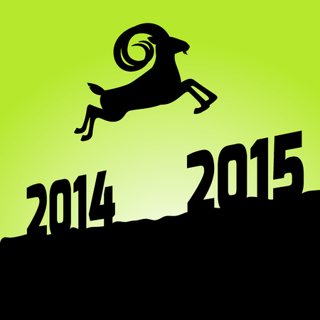 Happy new year 2015 year of goat. A goat jumps from 2014 to 2015. suitable for new year 2015 greeting card to say happy new year. this year zodiac is goat! Vector