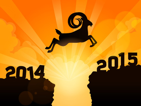 Happy new year 2015 year of goat. A goat jumps from 2014 to 2015 over a deep valley. suitable for new year 2015 greeting card to say happy new year. this year zodiac is goat!