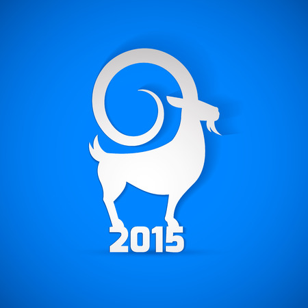 chinese new year card: Year 2015 year of Goat. Year 2015 zodiac sign is Goat Animal! Modern elegant design suitable for new year greeting card, postal card, happy new year card, banners and ...