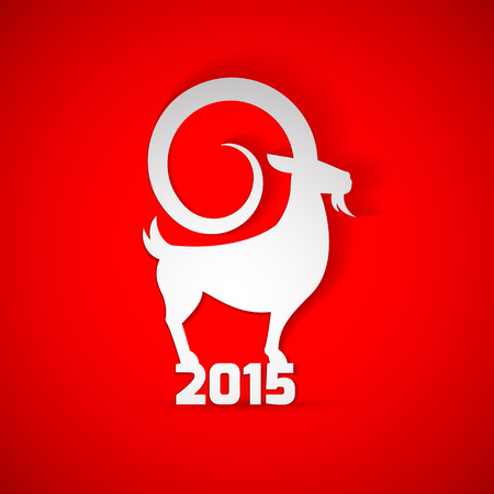at sign: Year 2015 year of Goat. Year 2015 zodiac sign is Goat Animal! Modern elegant design suitable for new year greeting card, postal card, happy new year card, banners and ...