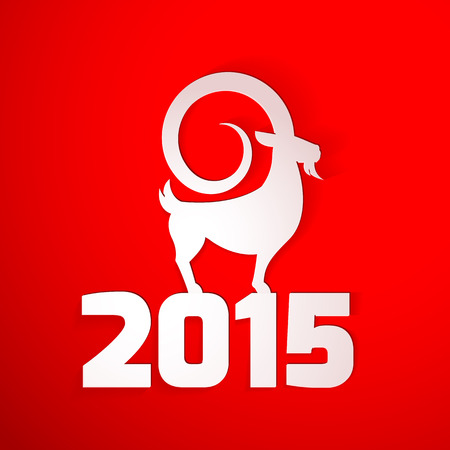 Year 2015 year of the goat Chinese zodiac greeting card Vector