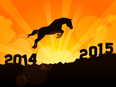 Abstract conceptual design of a horse jumping from year 2014 to year 2015 Vector