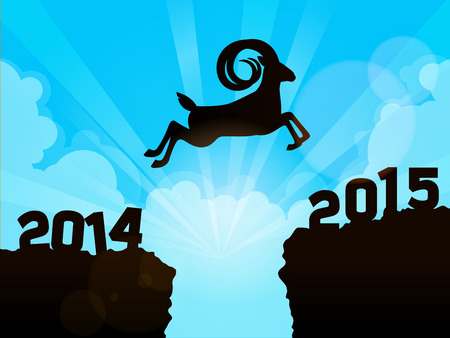a goat jumping from year 2014 to year 2015 Vector