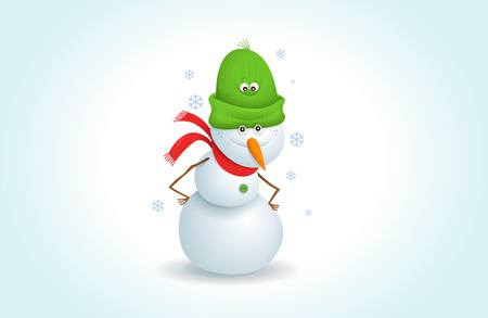 cartoon snowman clipart. happy snowman stands in snowy weather. suitable for Christmas greeting cards. Vector