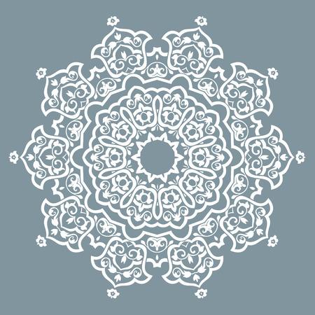 Round Pattern Mandala. Abstract design of Persian- Islamic-Turkish-Ara bic vector circle floral ornamental border! Illustration