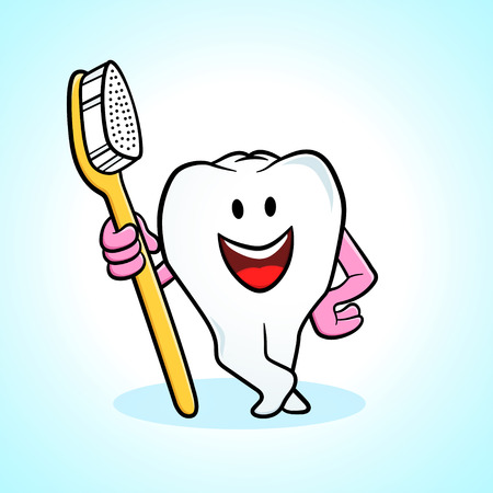 teeth cleaning: Cartoon tooth holding a toothbrush