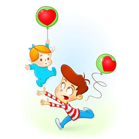 Bruder liebt, seine kleine Schwester. Baby-Mädchen fallen mit Ballon des Herzens
