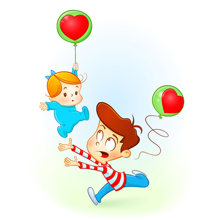 brother loves his baby sister. baby girl falling with balloon of heart