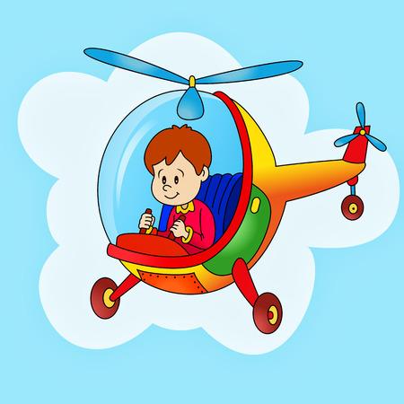 glücklicher Junge fliegt mit Hubschrauber