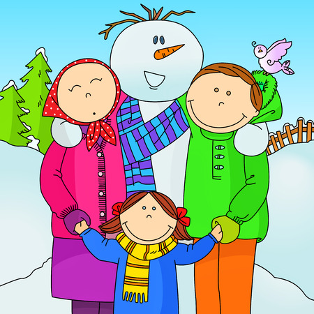 Happy family and snowman Vector