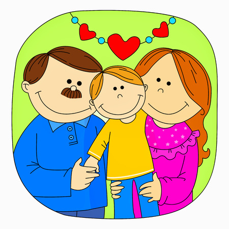 child looking up: Happy family - Mom, dad, and son Illustration