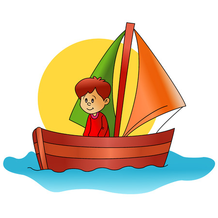 captain boat: little sailor with his boat Illustration