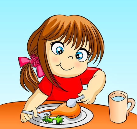 little cute baby girl eating Vector