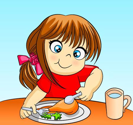 niñas: pequeña niña comiendo cuco Vectores