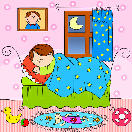 laying little: child sleeping in bed Illustration
