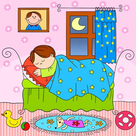 slumber: child sleeping in bed Illustration