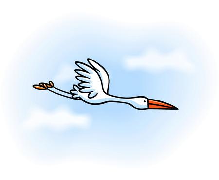 White stork flying Vector