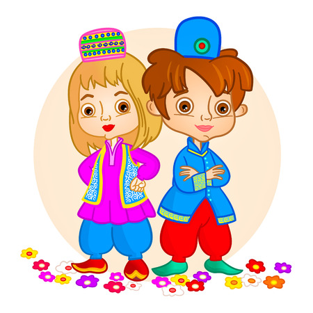 little boy and girl standing side by side. They wear traditional cloths. Vector