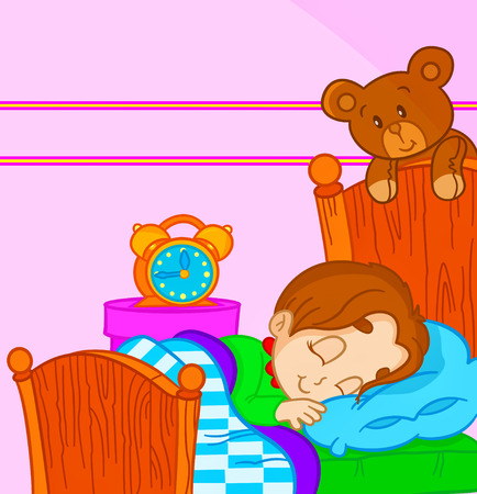 good evening: vector illustration of a little boy sleeping in bed
