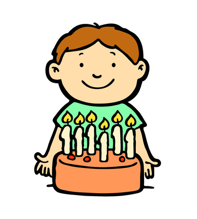 six year old: Happy kid with birthday cake Illustration