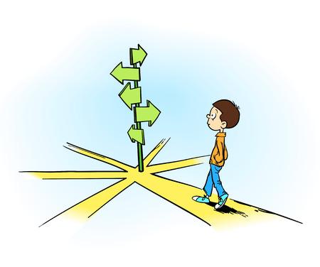 결정을 내림 - 다른 방향 앞에서 자신의 길을 선택하려고하는 어린 소년