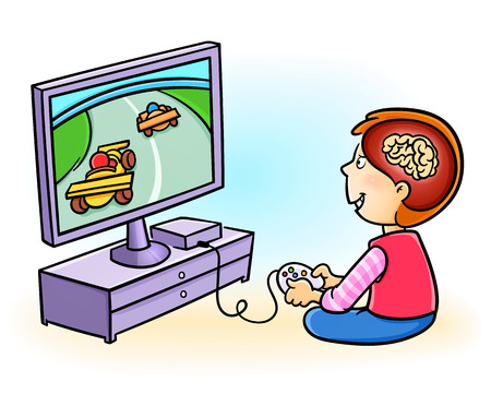 harm: Boy addicted to playing video games. Excessive video game playing in kids may harm the brain! Illustration
