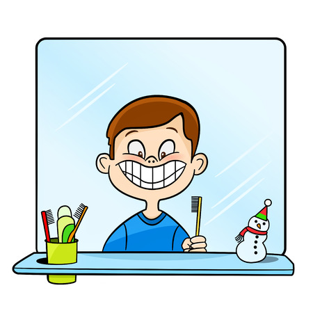 illustration of a boy brushing teeth on a white background Stock Illustratie